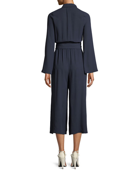 Silk Georgette Long-Sleeve Wide-Leg Belted Jumpsuit