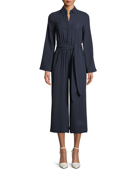 Michael Kors Collection Silk Georgette Long-Sleeve Wide-Leg