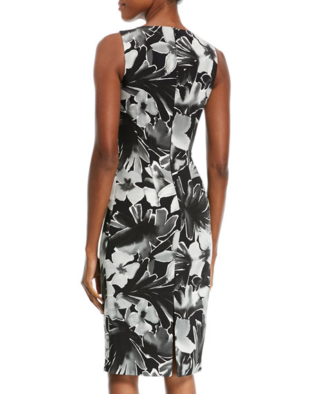 High-Neck Sleeveless Floral-Print Sheath Cocktail Dress