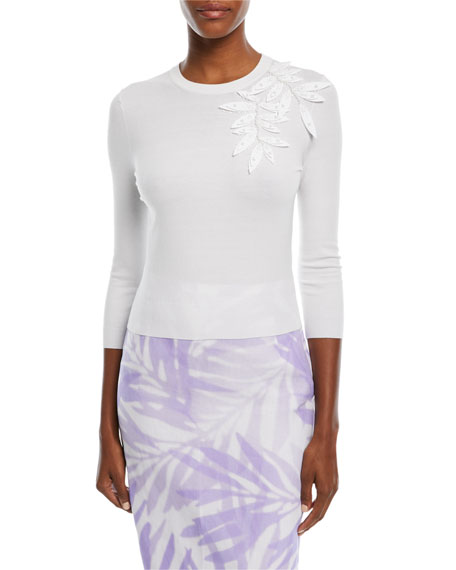 Michael Kors Collection Floral Stretch-Cady Linen Pencil Skirt