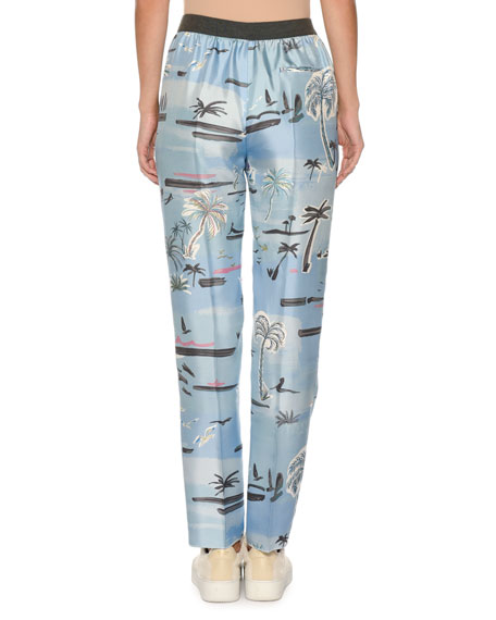 Palm-Tree Print Elastic Slim Pull-On Pants