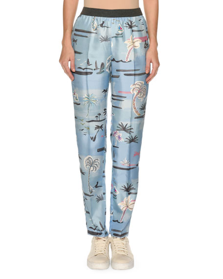 palm tree trousers - Blue Agnona oXZhH