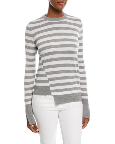 Crewneck Long-Sleeve Striped Sweater with Step-Hem