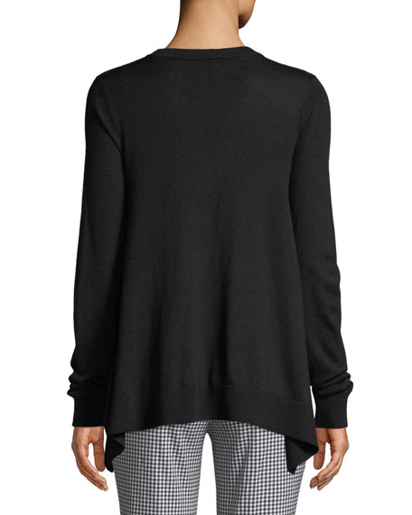 V-Neck Long-Sleeve Draped Tropical Cashmere Pullover