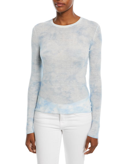 Crewneck Long-Sleeve Linen Tie-Dye Top