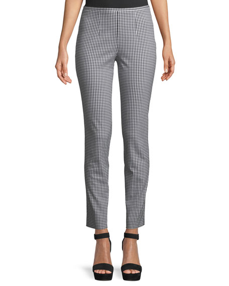 Gingham Side-Zip Straight-Leg Stretch-Cotton Pants