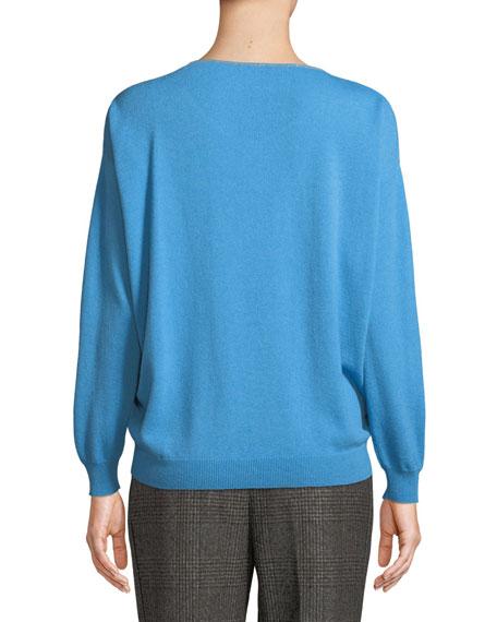 Cashmere Monili-Trim Subtle V-Neck Sweater