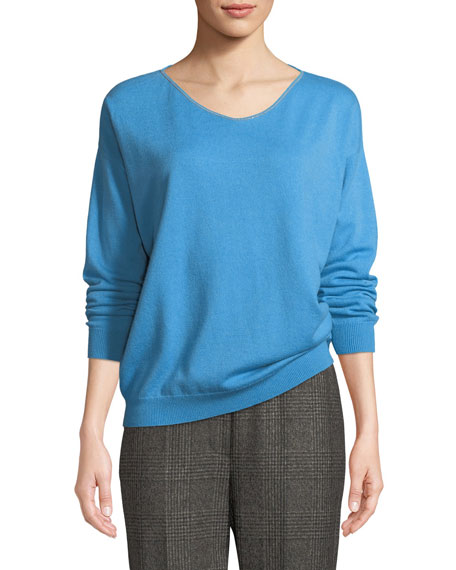 Cashmere Monili-Trim Subtle V-Neck Sweater