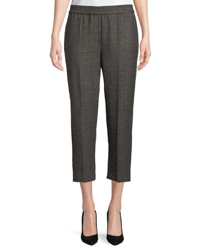 Plaid Wool Straight-Leg Pull-On Pants