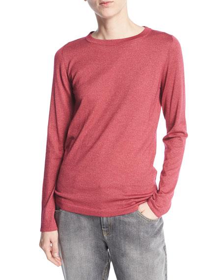 Crewneck Long-Sleeve Cashmere-Blend Knit Pullover
