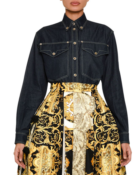 Versace Long-Sleeve Button-Front Denim Blouse