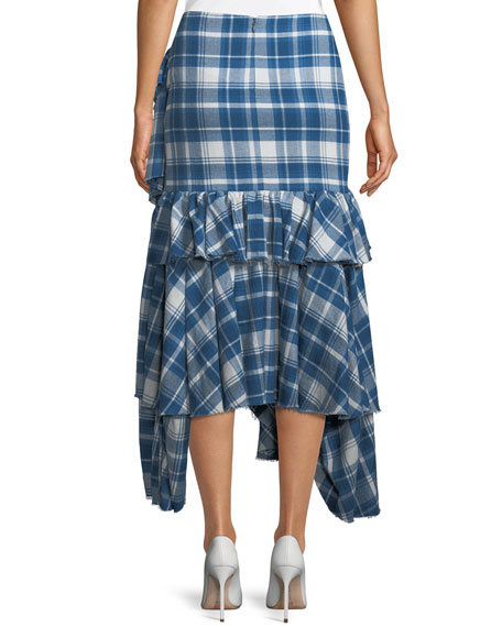 Phadra Plaid Blanket Ruffled Tier Cotton Skirt