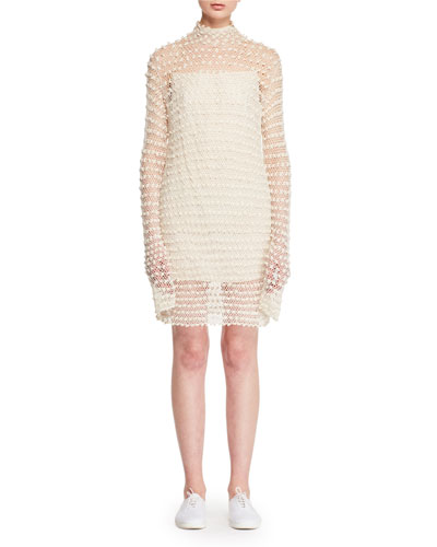 Efni Mock-Neck Long-Sleeve Ajouré Knit Sweater Dress