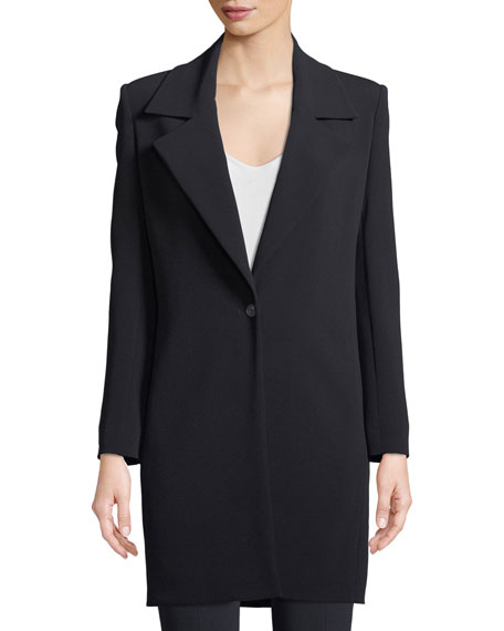 THE ROW Kelvin One-Button Long Crepe Blazer and