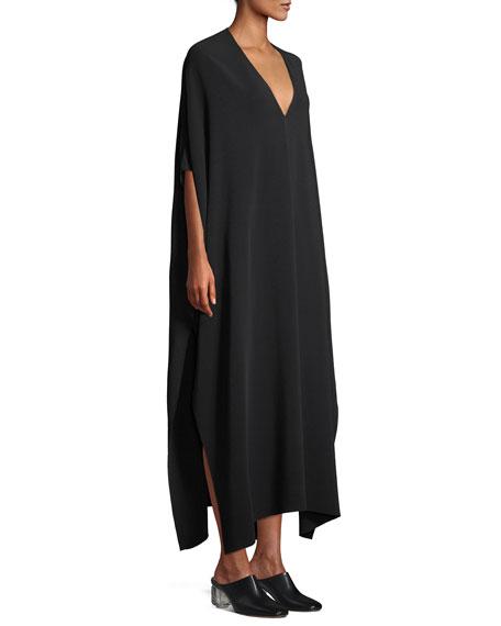 Vikita Surplice Long-Sleeve Cady-Stretch Long Dress