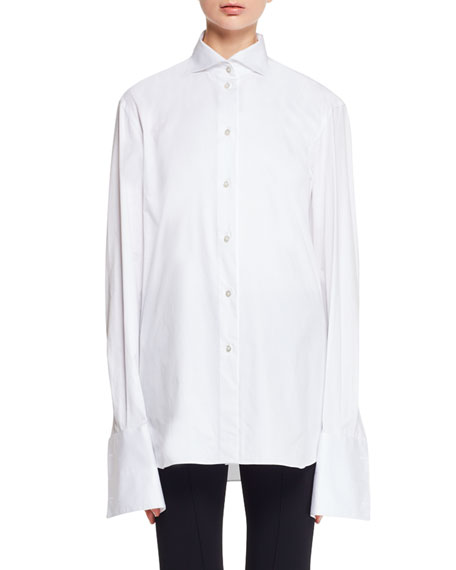 Betta Button-Front Stretch-Poplin Shirt