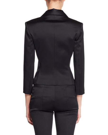 Cinda Notched-Lapel Fitted Cropped Stretch-Satin Jacket