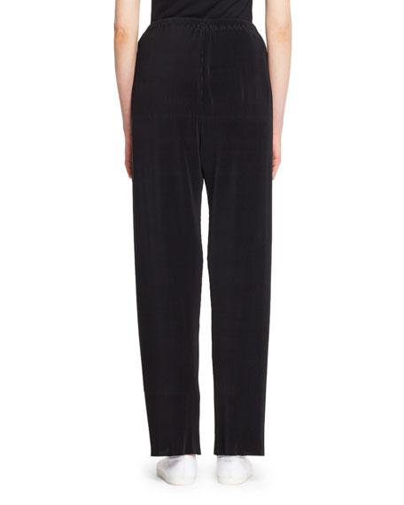 Ocap Drawstring Straight-Leg Plisse Voile Pants