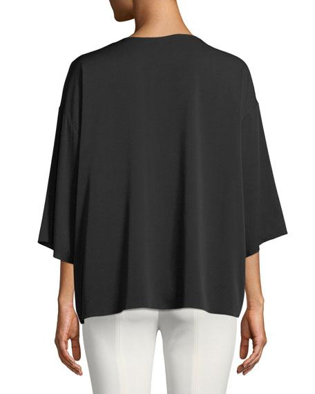 Mariaka Split-Neck Dolman-Sleeve Silk Blouse