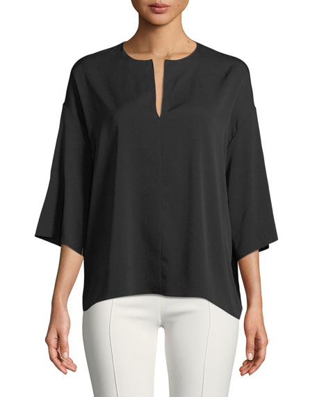Mariaka Split-Neck Dolman-Sleeve Silk Blouse