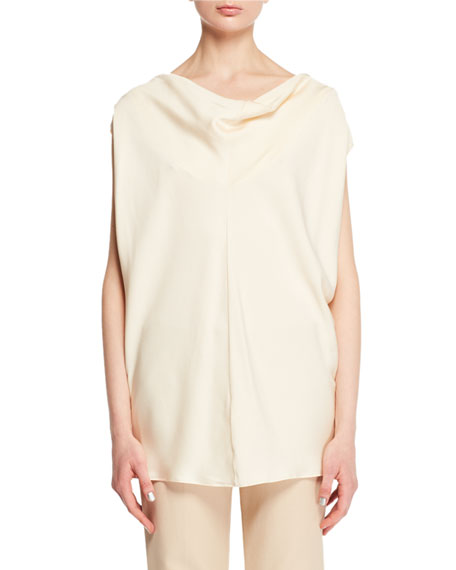 Timo Cowl-Neck Fluid Silk Blouse