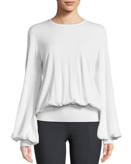 Alend Round-Neck Blouson Wool-Blend Sweater