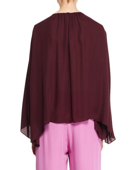 Lancy Round-Neck Long-Sleeve Silk Top