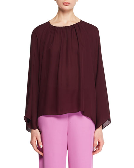 Lancy Round-Neck Long-Sleeve Silk Top