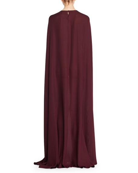 Narelle Jewel-Neck Silk Charmeuse Cape Evening Gown