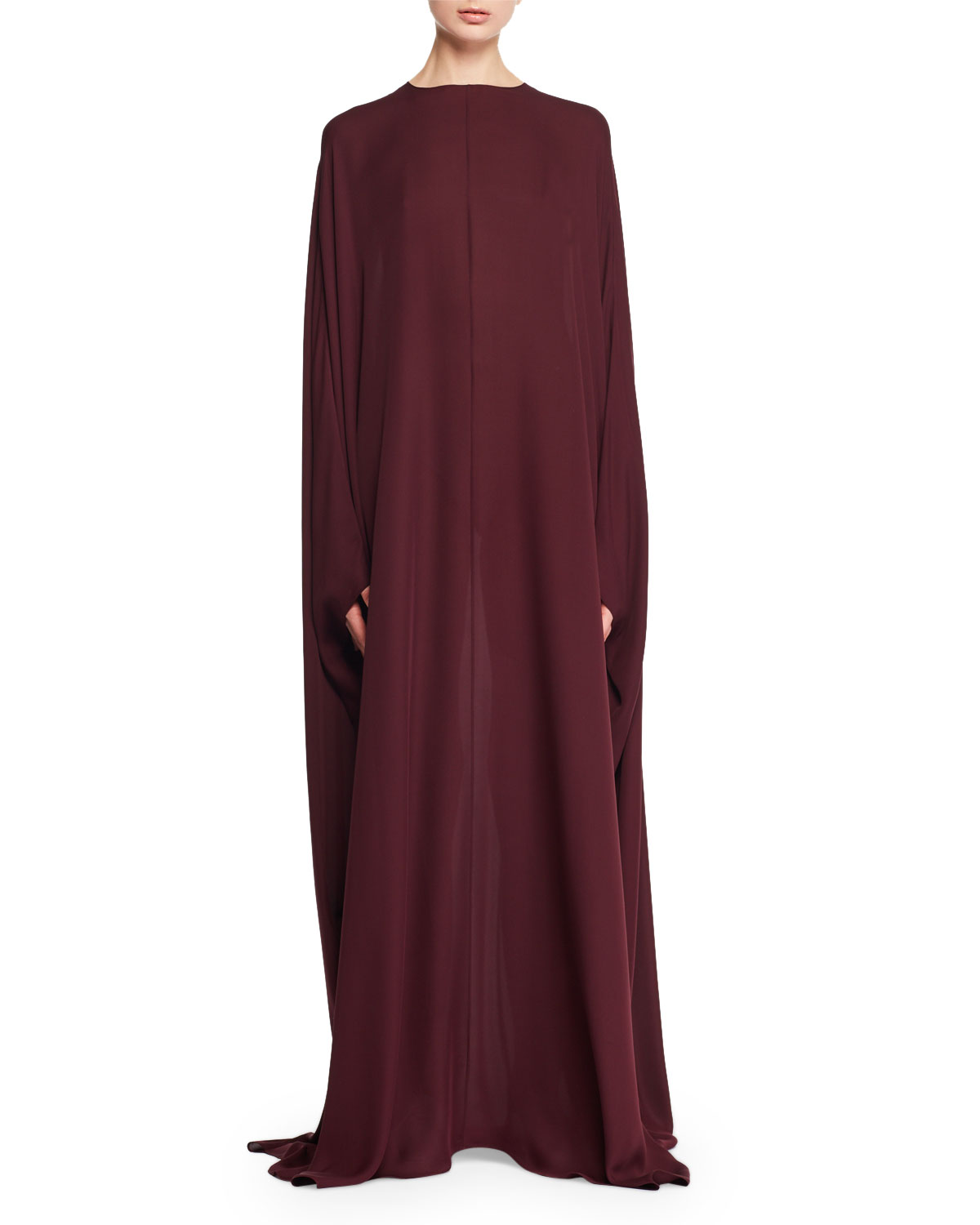 THE ROW Narelle Jewel-Neck Silk Charmeuse Cape Evening Gown   Neiman ...