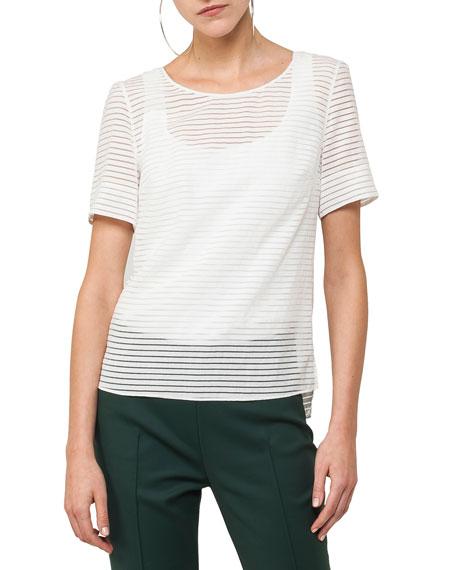 Short-Sleeve Tonal-Stripe Blouse