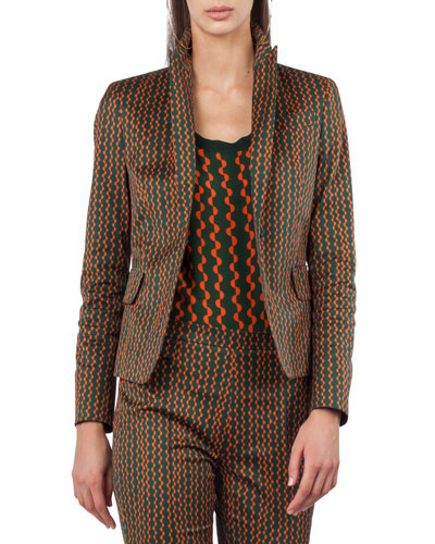 Single-Button Semicircle Stripe-Print Blazer