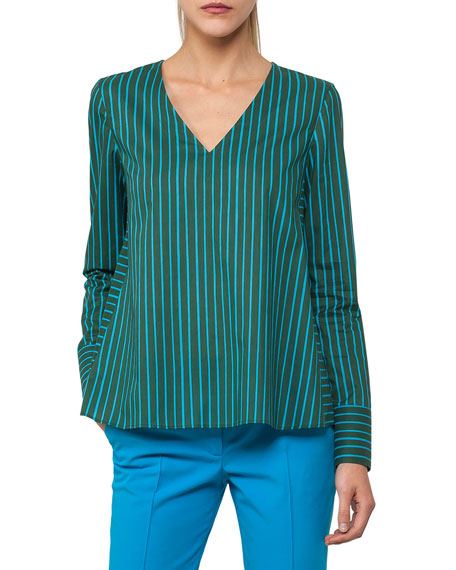 V-Neck Long-Sleeve Striped Top