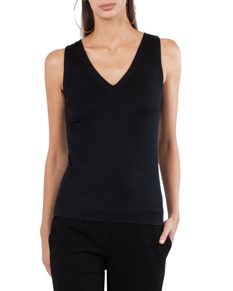 V-Neck Sleeveless Jersey Knit Top