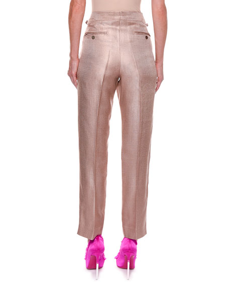 Metallic Twill Crop Pants