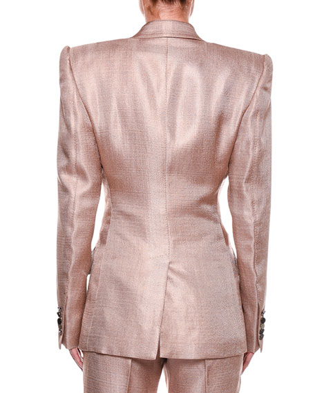 Metallic Twill Two-Button Jacket with Strong Shoulders