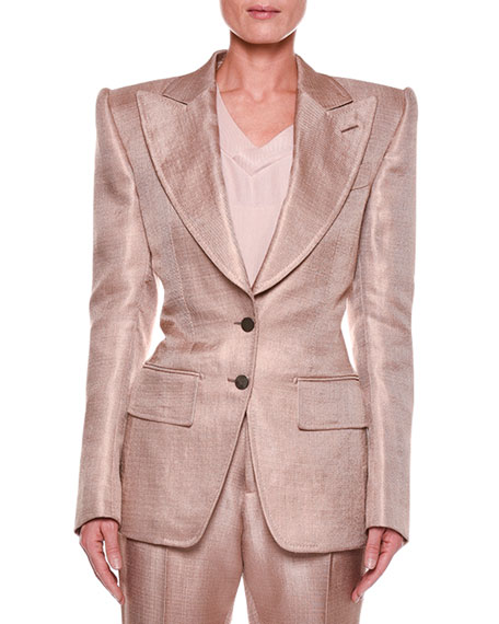 TOM FORD Metallic Twill Two-Button Jacket with Strong