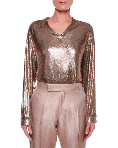 Slouchy Chainmail V-Neck Top