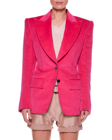 TOM FORD Cotton Velvet Two-Button Jacket with Strong
