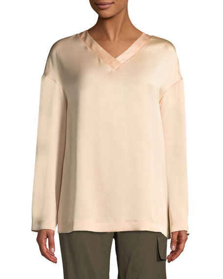 V-Neck Long-Sleeve Straight Silk Blouse