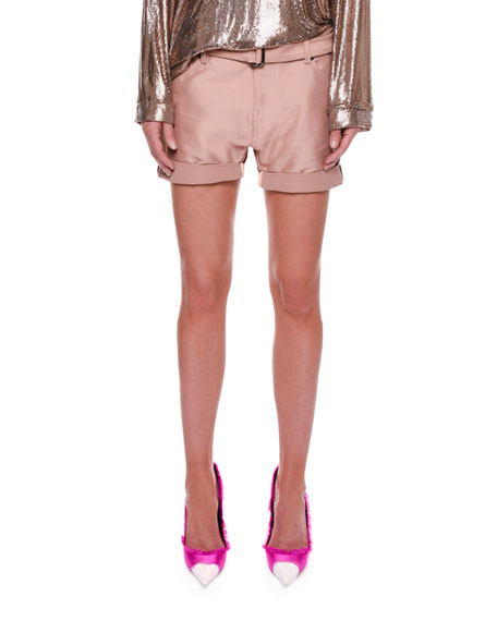 Stretch-Gabardine Shorts with Belt