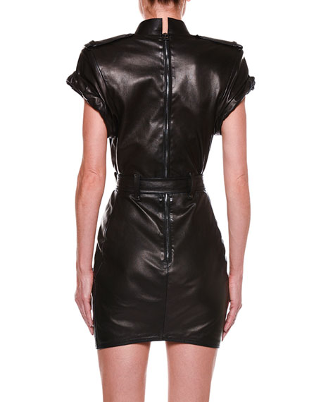 Rolled-Sleeve Belted Leather Dress