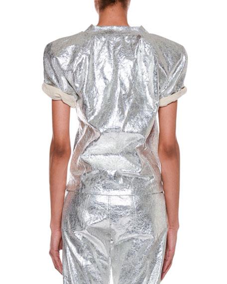 Roll-Sleeve Metallic-Coated T-Shirt