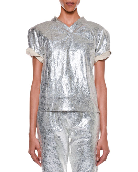 TOM FORD Roll-Sleeve Metallic-Coated T-Shirt and Matching Items