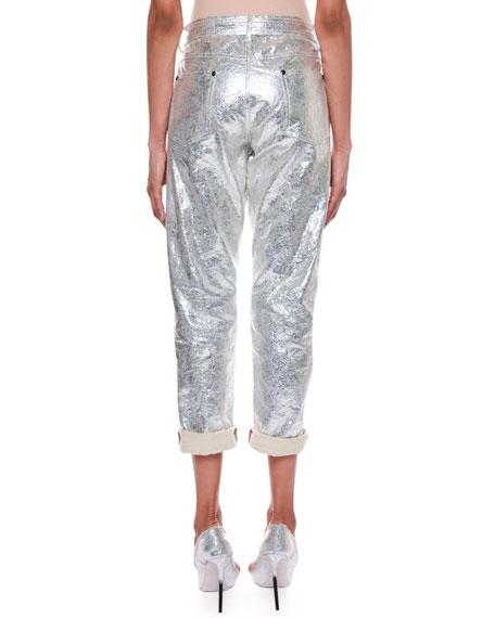 Rolled-Cuff Metallic-Coated Cropped Boyfriend Jeans