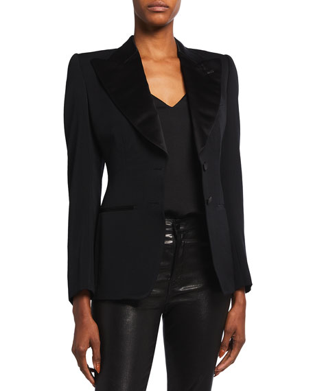Satin-Lapel Two-Button Jacket with Strong Shoulders