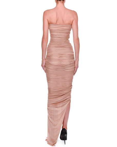 Strapless Bustier Ruched Gown