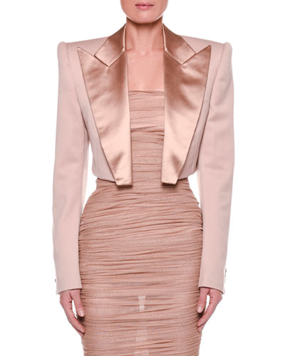 Satin-Lapel Cropped Jacket