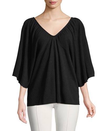 Ulia V-Neck 3/4-Sleeve Fine Cashmere Pullover Sweater