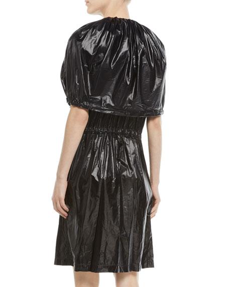 Fold-Over Zip-Front Nylon Dress
